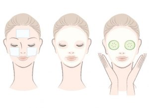 15897607 - set of elegant, beautiful woman with face mask  clay,cotton pad,cucumber slice mask  isolated, hand-drawn like style